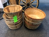 (8) Wood Peach Baskets