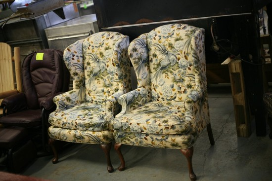 (2) Upholstered Wingback Chairs