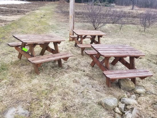 (3) Youth Wood Picnic Tables