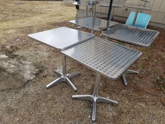 (4) Steel Polished-Top Pedestal Tables