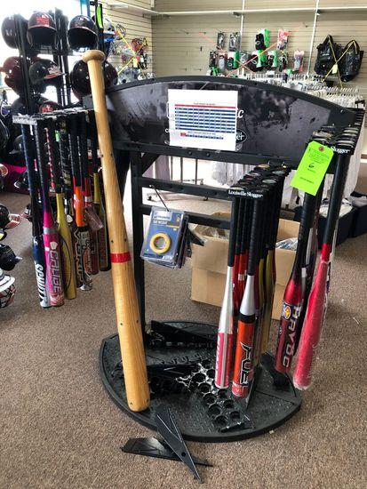 (36) Baseball / Softball Bats w/ Display
