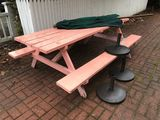 Picnic Table w/ (3) Umbrella Bases