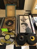 Vintage Record Player, Records & Prints
