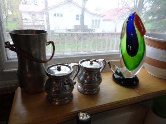 """6 Pcs. Decorative Arts: Glass Parrot; Beige Stripe Vase, Vintage """"CON ACID"""