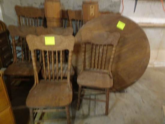 """48"""" Round Oak Table (needs repair) & 8 Pressback Dining Chairs"""