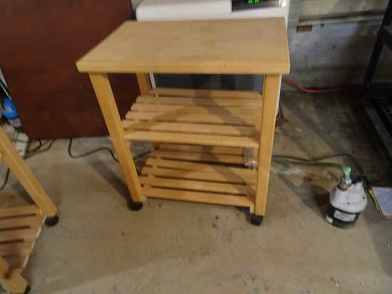 """(3) Rollaround Wooden Kitchen Carts, 17""""x26"""" x 31"""""""