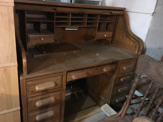 Oak Roll Top Desk, reproduction  and a 2 Drawer Oak look file cabinet