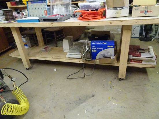8' Roll around Work Bench with contents on top