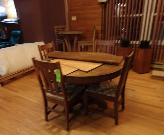 """Contemporary Mission Oak Style Dining Table, 48"""" Round  w/6 Chairs and Side"""