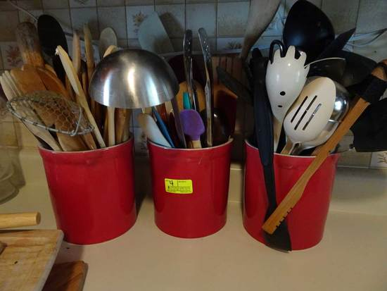 3 Red Pottery Vessels w/Qty. Kitchen Utensils