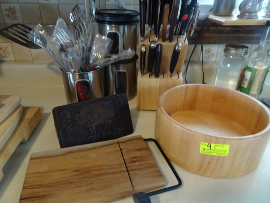 Kitchen Lot:  Wooden Bowl, Cheese Slicer, Bacon Press, Knife Holder w/Knives
