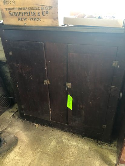 2-Door Antique Painted Wood Cupboard