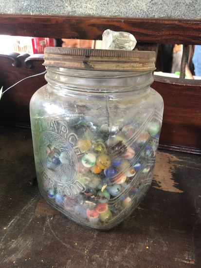 Vintage Marbles in Glass Monarch Finer Foods Jar