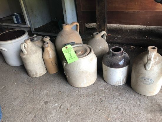 (10) Antique Salt Glazed Crocks & Jugs