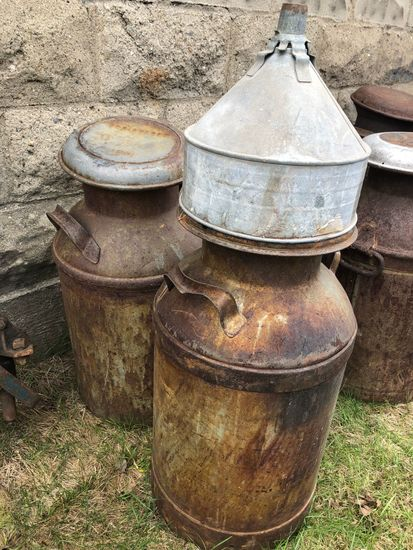 (2) Antique Milk Cans