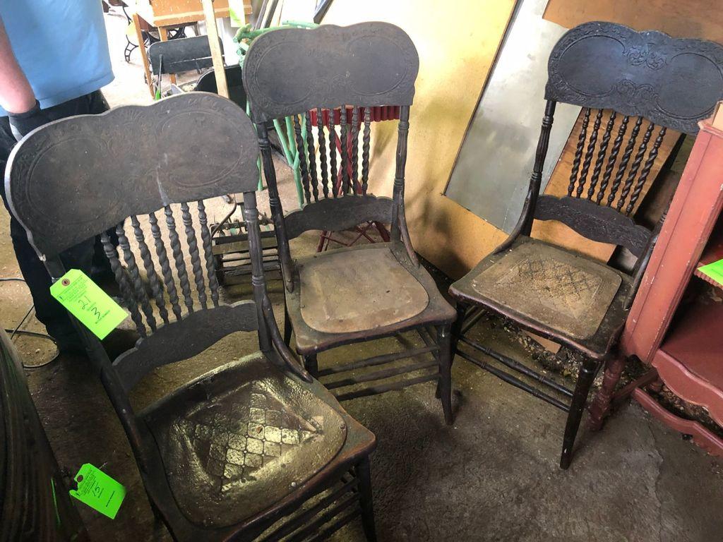 (3) Antique Oak Pressback Chairs