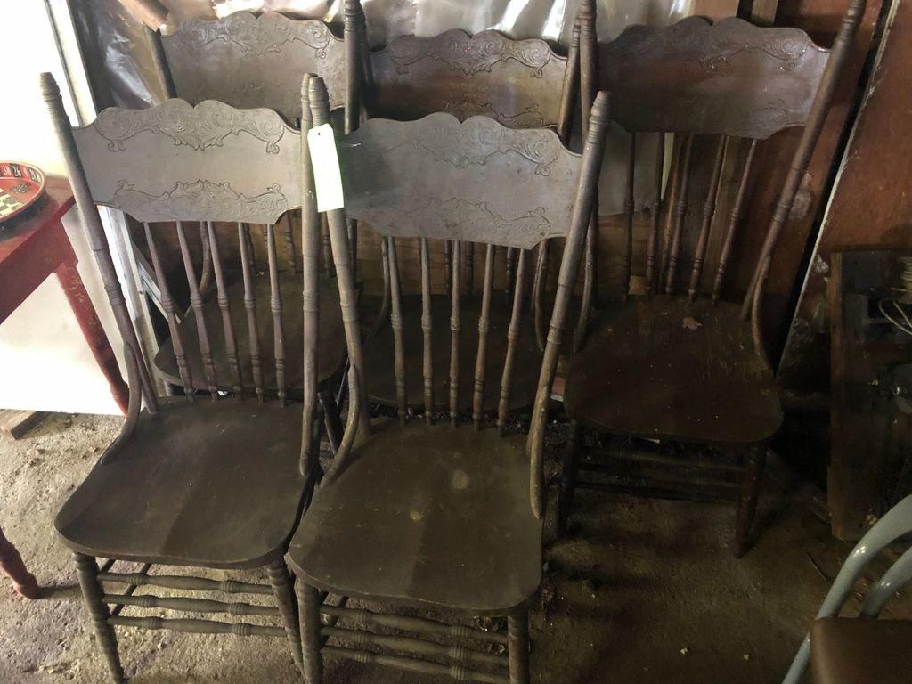 (5) Antique Oak Pressback Kitchen Chairs