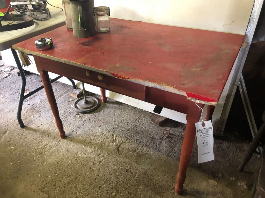 Painted Turned Leg Kitchen Table w/ 1 Drawer