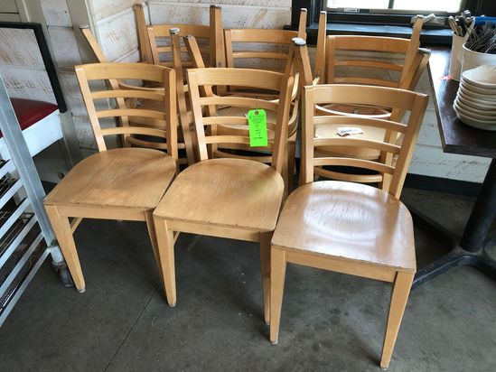 (9) Wood-Natural Ladder Back Side Chairs