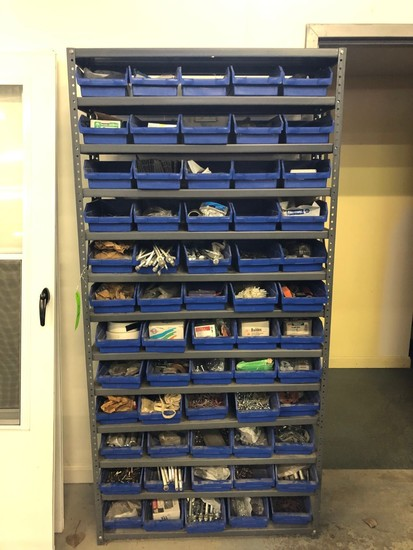 13-Tier Steel Shelf Unit w/ Bins & Contents