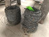 (2) Partial Rolls of Barbed Wire & (2) Wood Saw Horses