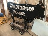 Rolling Cow Silhouette Butcher Shop Sign