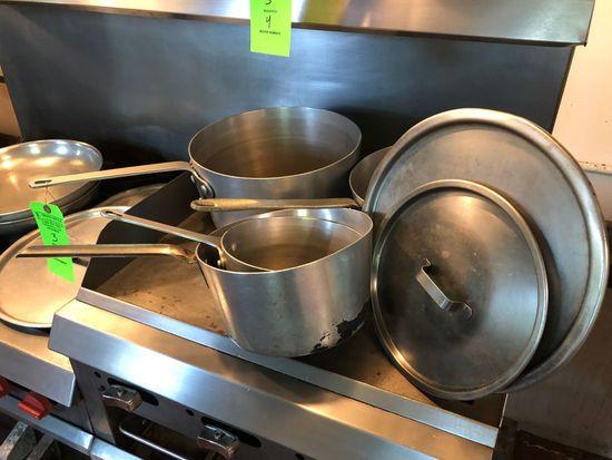 (4) Aluminum Sauce Pans