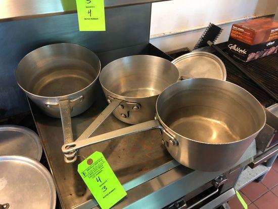 "(3) 10 1/2"" Aluminum Sauce Pans"
