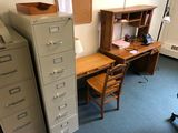 Executive Chair; Oak Bookcase & Filing Cabinets