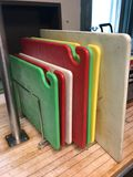 (7) Poly Cutting Boards & Rack