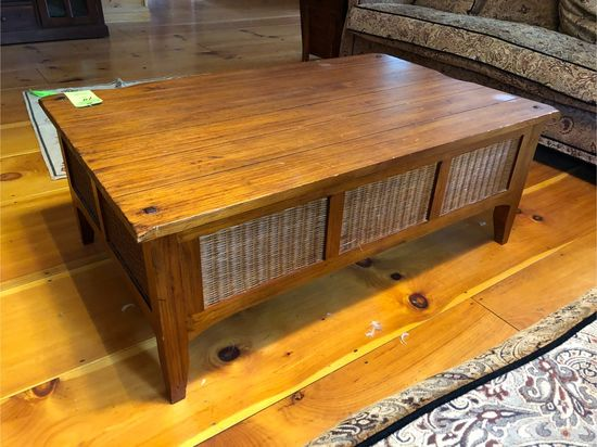 Wood Coffee Table w/ (3) Wicker Drawers