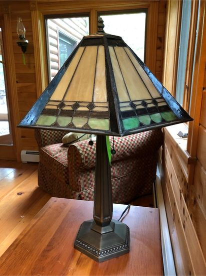 Metal Lamp w/ Stained-Glass Tiffany-Style Shade
