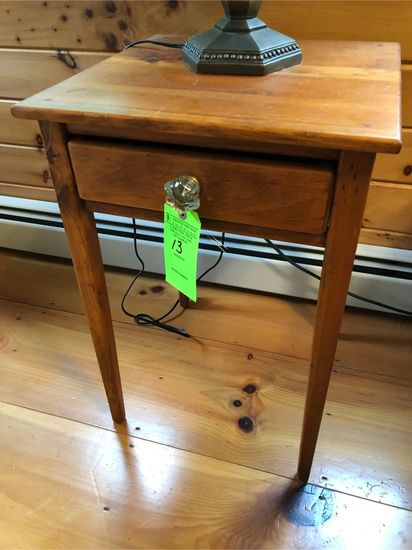Single Drawer Pine Stand w/ Glass Pull