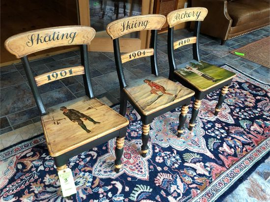 (3) Decorative Sporting-Theme Painted Chairs