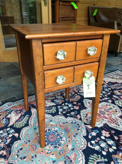 Pine 2-Drawer Stand w/ Glass Pulls