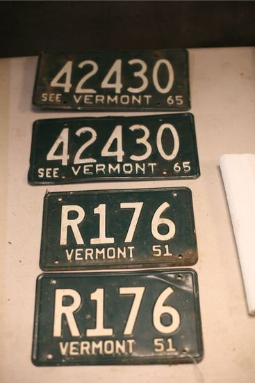 (2) Pairs Of Vermont License Plates