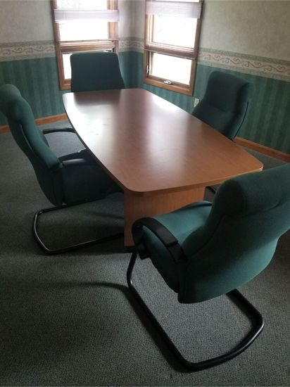 Plywood Conference Table w/ (4) Chairs