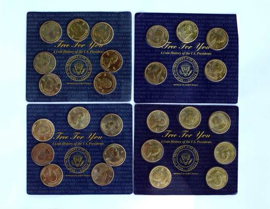 (4) Sets History of U.S. Presidents Readers Digest Issued in 1997, Brass Coins - (3) Sets of 7 coins
