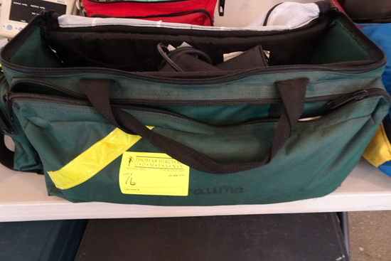 Green First Response Bag w/Stethoscopes, blood pressure monitor/cuff, misce