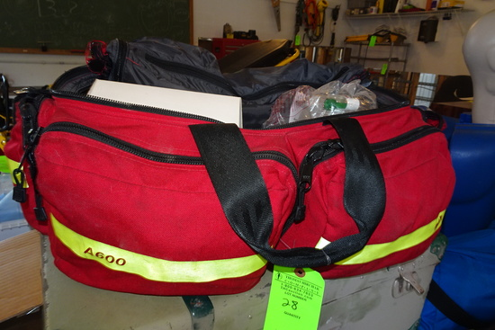 Red First Responders Bag w/contents incl. stethoscope, blood pressure cuff,