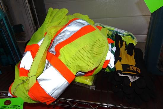 "(8) Safety Vest & (3) pairs  ""CAT"" gloves"