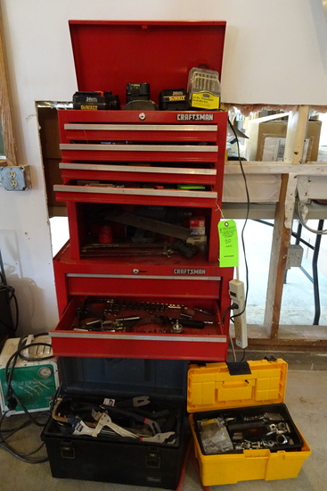 Craftsmen Roll around tool box with contents and (2) portable tool boxes