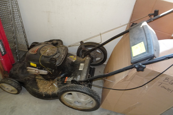 Stepladders incl. 6' Husky Fiberglass, hose reel, Craftsmen lawn mower