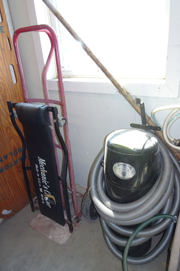 Hand Truck, Vacuum Creeper and Contents of Cubby