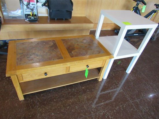 Oak & Tile Coffee Table W/ (2) Magazine Stands