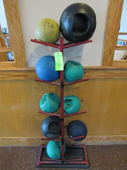 (9) Training Balls / Core Balls W/ Stand