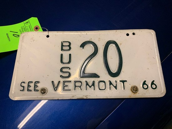 1966 See Vermont Bus 20 License Plate
