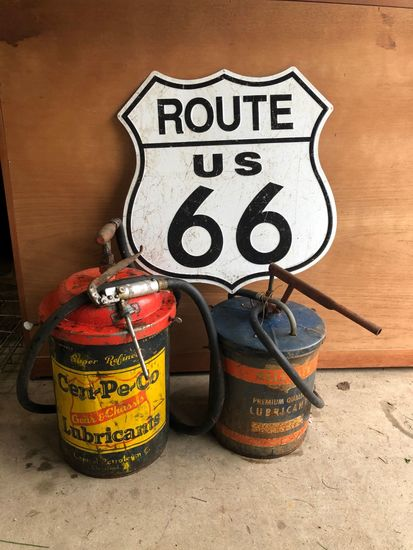 (2) Vintage Hand Cranked Pumps With Cans W/ Repro Rt 66 Sign