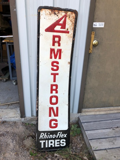 (2) Armstrong Tires Painted Steel Signs