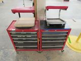 (2) Homak Tool Cabinets & (2) Roll-Around Stools